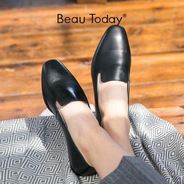BeauToday Cho Nữ Nữ Da Bê Thương Hiệu Vuông Mũi Giày Slip On Nữ Đế Bằng Chất Lượng Hàng Đầu Giày Làm Bằng Tay 27089