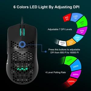 Image 3 - AJ390 ratón para videojuegos con luz LED, 6 colores, 16000DPI, ajustable, 7 teclas, diseño hueco, 69g, con cable para ordenador