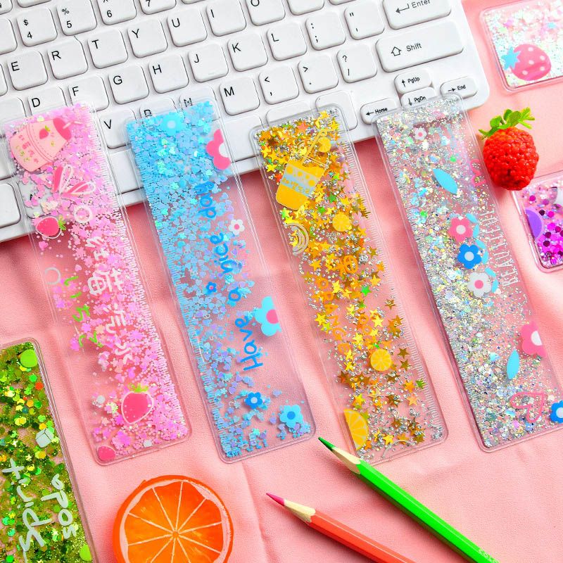 15cm Cute Quicksand Sequins Ruler Kawaii Strawberry Flower Ruler For Kids Girls Gifts School Stationery Supplies