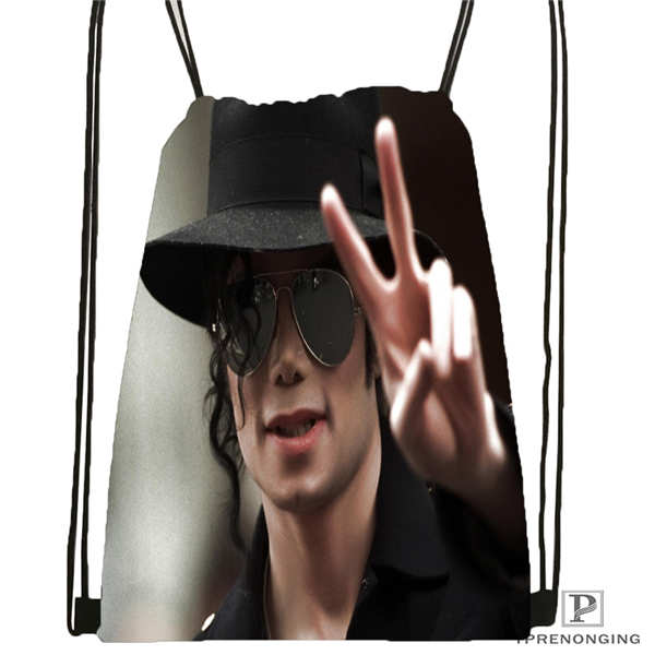 Custom Michael Jackson@02  Drawstring Backpack Bag Cute Daypack Kids Satchel (Black Back) 31x40cm#20180611-02-64