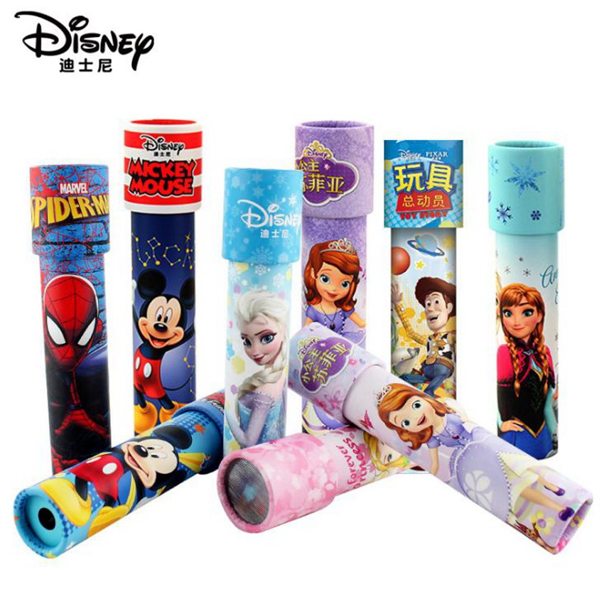 New Disney Kaleidoscope Toy Figures Colorful World Mickey Princess Spiderman Autism Kids Puzzle Toys For Birthday Christmas Gift