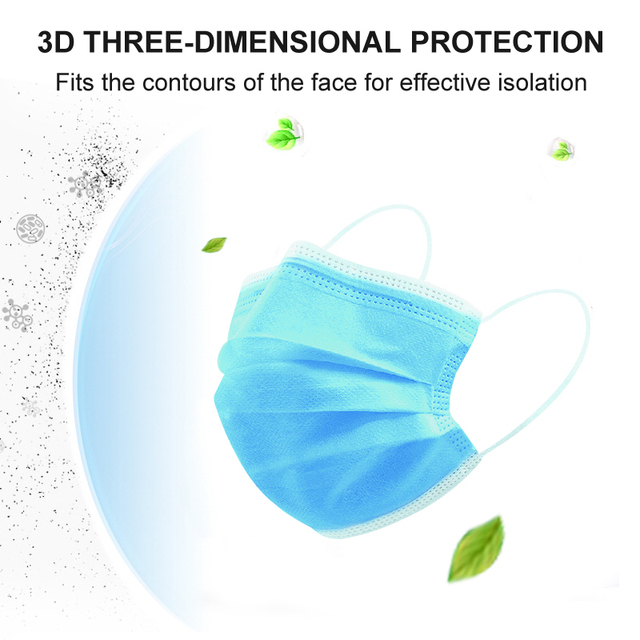 3-layer mouth-muffle disposable masks Anti-virus mask dustproof anti-flu civilian protective masks in stock disposable face mask 1