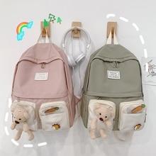 New Cut Bear Solid Color Simplicity Korean Style Canvas Women Backpack Travel Shoulder Bag for Teenager Girls Student Bookbag