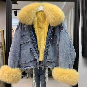 Image 2 - נשים של ג ינס מעיל עם פרווה טבעי שועל פרווה צווארון שרוול אמיתי רקס ארנב פרווה בטנת חורף נקבה מעילים חמים מפציץ שובר רוח
