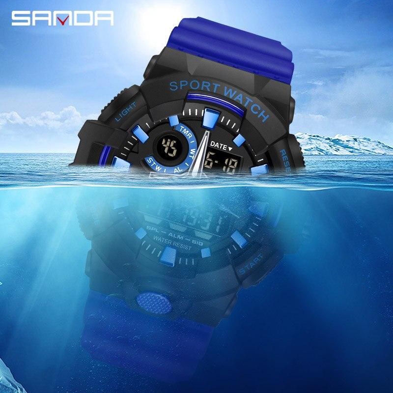 Top marque montre numérique hommes de luxe antichoc chronomètre montres SANDA marque électronique montre-bracelet hommes horloge alarme rappelant 5