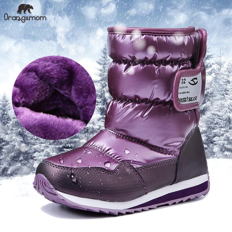 11,11-30 grados Rusia invierno cálido zapatos de bebé, moda impermeable zapatos de los niños, niñas niños botas de nieve niños zapatos Botas de lluvia