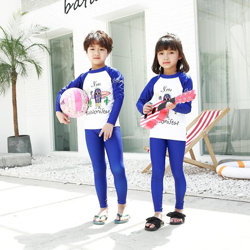 BOY'S Girls Printed Split Type Sun-resistant Two Piece Set Bathing Suit Medium-sized Child Tour Bathing Suit Warm Hot Springs Sw