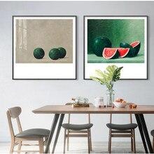Abstracto nórdico cartazes impressos pintura a óleo sobre tela quadros literários retro melancia frutas cozinha casa decoração