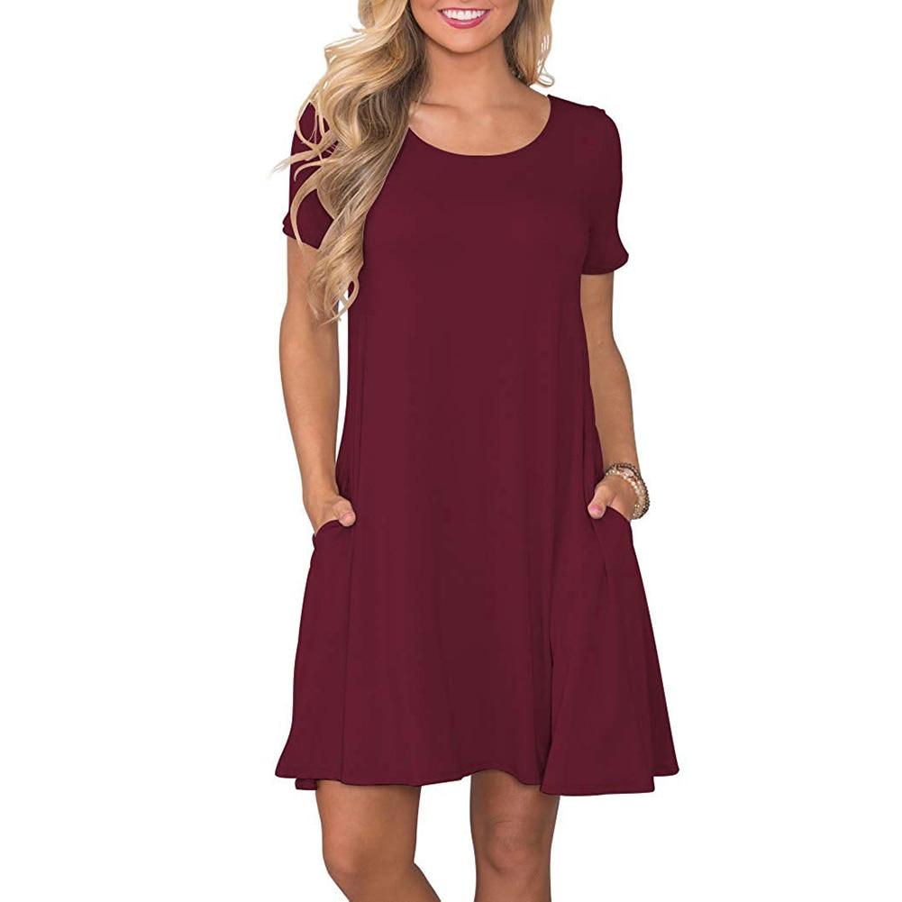 Women's Summer Casual T Shirt Dresses Short Sleeve Swing Dress Pockets 6