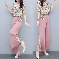 2019 New Fashion Elegant Chiffon 2 Pieces Suits Summer Women Short Sleeve Floral Shirt Blouse And Wide Leg Pants Trousers Sets