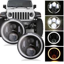 페어 7 인치 라운드 LED 헤드 라이트 하이 로우 빔 화이트 헤일로 링 천사 눈 DRL + 앰버 터닝 신호등 Jeep & Hummer