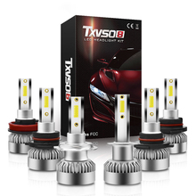 Bombillas LED COB para faro delantero de coche, H7, H1, H8, H9, H11, 9005, 9006, 9012, 6000K, 20000LM, 110W, estilo para automóvil, 2 uds.