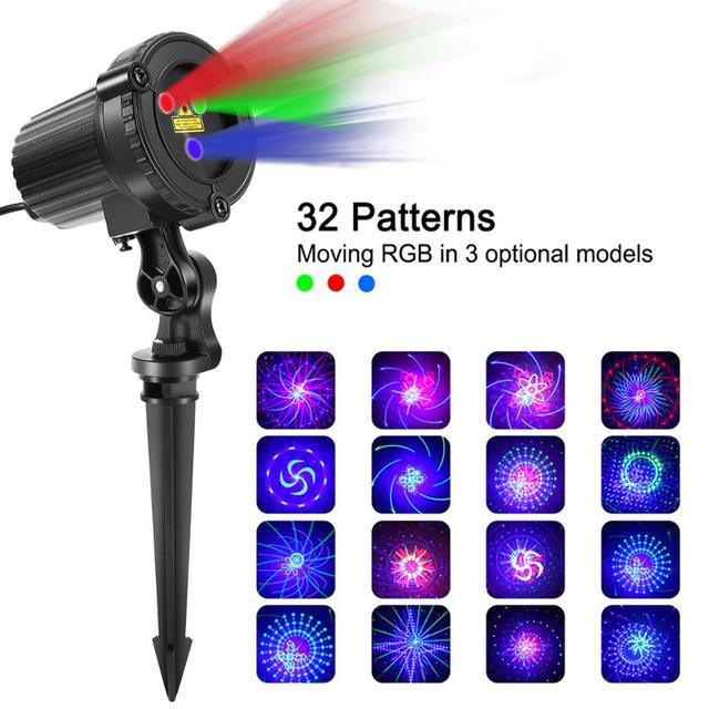 32 RGB Christmas Laser Light Projector Outdoor Garden Waterproof DJ Laser Christmas Tree Villa House Holiday Lights