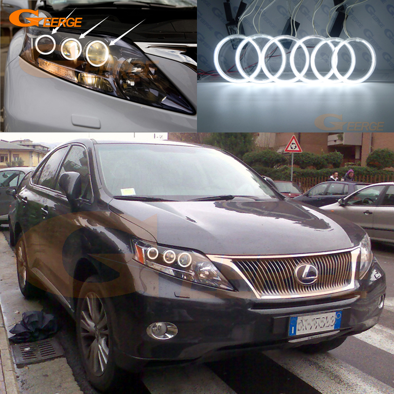 For Lexus RX450h 2009 2010 2011 2012 Excellent Angel Eyes Ultra Bright Illumination CCFL Angel Eyes Kit Halo Ring