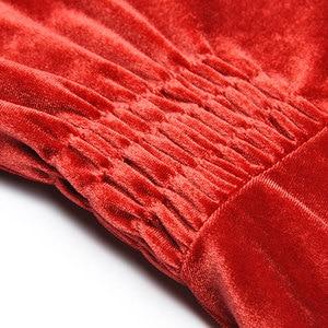 Image 5 - Abbigliamento donna autunno inverno tinta unita nero/vino rosso velluto scollo a v bottoni frontali abito a vita alta a metà polpaccio