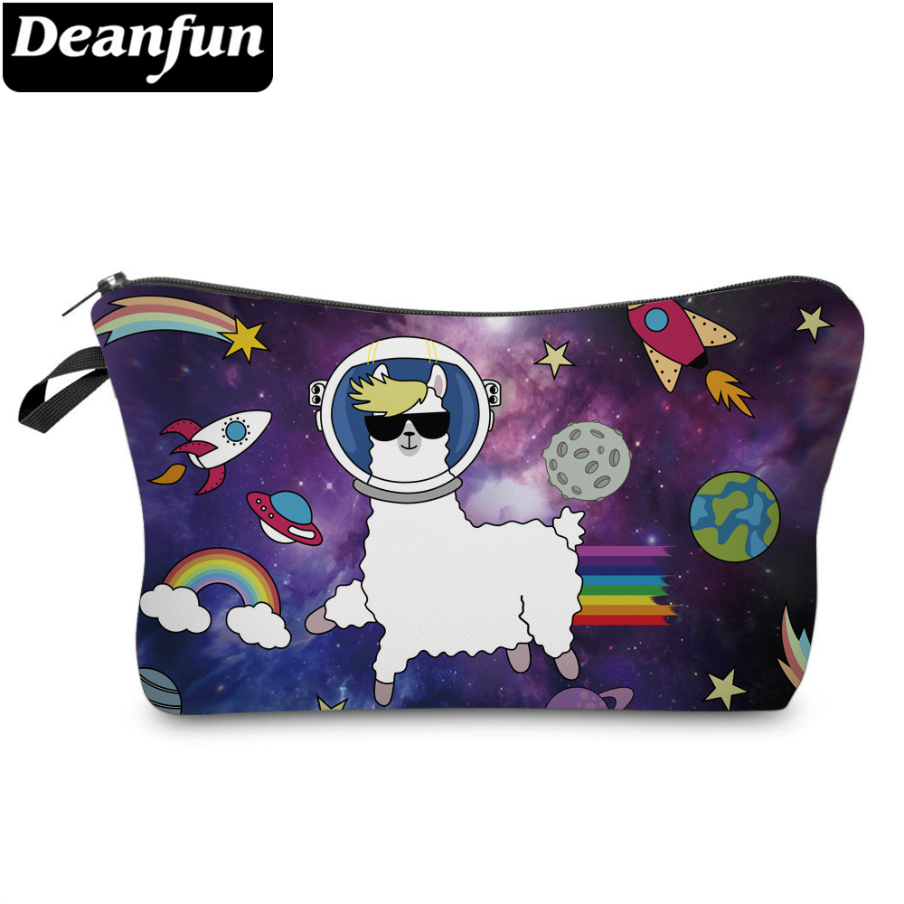 DeanfunRainbowPrinting Spaceship Planet Rocket Waterproof Space LlamaCosmetic Bag Travel Pouch Purse Organizer 51532