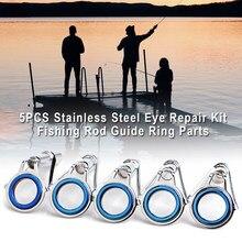 5 pçs peças de haste de pesca círculo ponta olho topo durável equipamento guia anel profissional aço inoxidável peças círculo diy kit reparo
