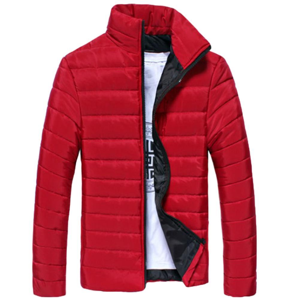 Winter Jackets Men Solid Color Parkas Stand Collar Long Sleeve Parkas Warm Cotton Quilted Coat Jacket S-lim Men's Coat Erkek Mon
