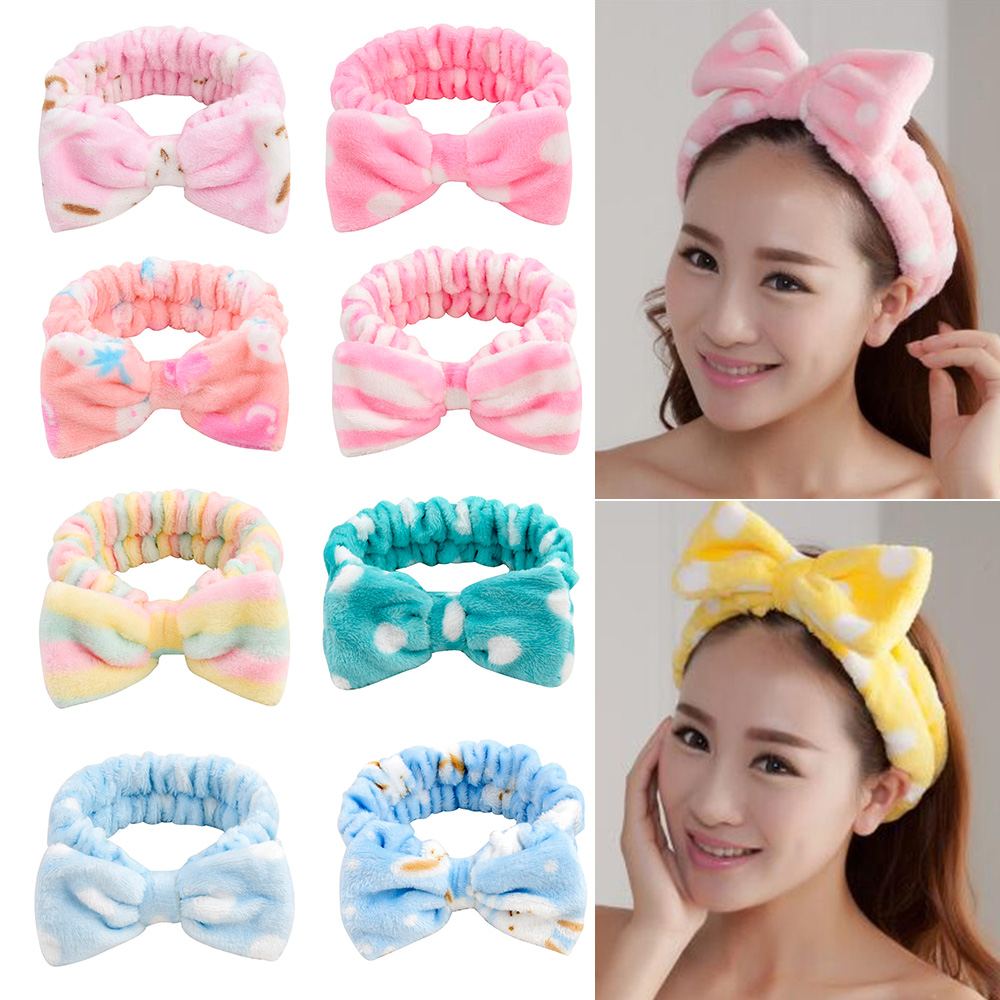 Мягкая повязка на голову из кораллового флиса, повязка на голову для женщин и девочек, эластичная повязка на голову для мытья лица, тюрбан, а...