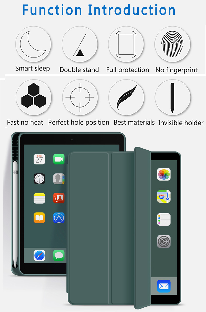 Silicone Case For iPad 10 2 2020 2019 Pu flip leather case For iPad 10 2