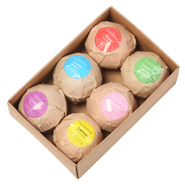 60g 6pcs Organic Bath Salt Body Essential Bath Ball Body Skin Whitening Ease Relax Stress Relief Natural Bubble Bath Bombs Ball 2