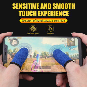 1 Pair Breathable Game Controller Finger Cover Sweat Proof Non-Scratch Touch Screen Gaming Finger Thumb Sleeve Gloves image