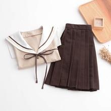 Sailor Suit Jk School Uniform Cute Girl Daily Dress Jpanese Kawaii Preppy Suit Short Long Sleeve Top+ Pleated Skirt