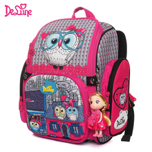Delune 2019 New Cartoon School Bag Orthopedic Childrens Backpack for Girls 3D Owls Cat Model Mochila Infantil Grade 1-3 Satchel