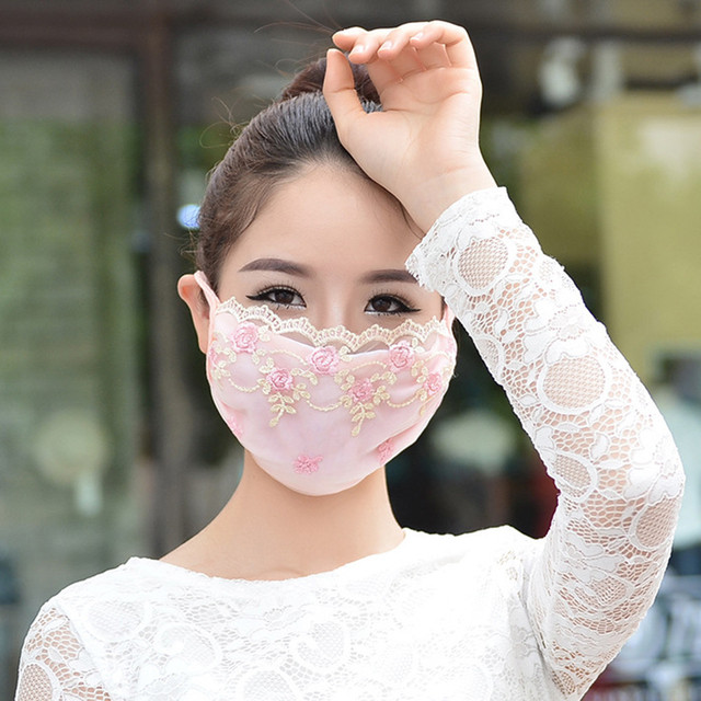 Korean face mask floral Embroidery cotton breathable masks protection dustproof cycling maske for women mondkapjes wasbaar 4