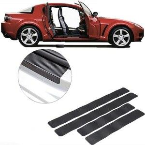 4PCS Car Stickers Universal Sill Scuff Anti Scratch Carbon Fiber Auto Door Sticker Decals Car Accessories