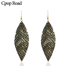 Cpop New Shiny Feather Genuine Leather Earrings for Women Gold Silver Glitter Leaf Fashion Jewelry Accessories Ear Drop