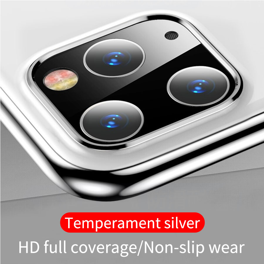 Металлическая рамка+ закаленное стекло, задняя крышка, кольцо для объектива камеры для iPhone 11 Pro Max, защита экрана, Задний защитный чехол - Цвет: Silver