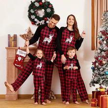 Семейные комплекты; рождественские пижамы; детский клетчатый комбинезон с лосем; пижамы для взрослых; вечерние комплекты одежды для сна; одежда для папы, мамы и меня