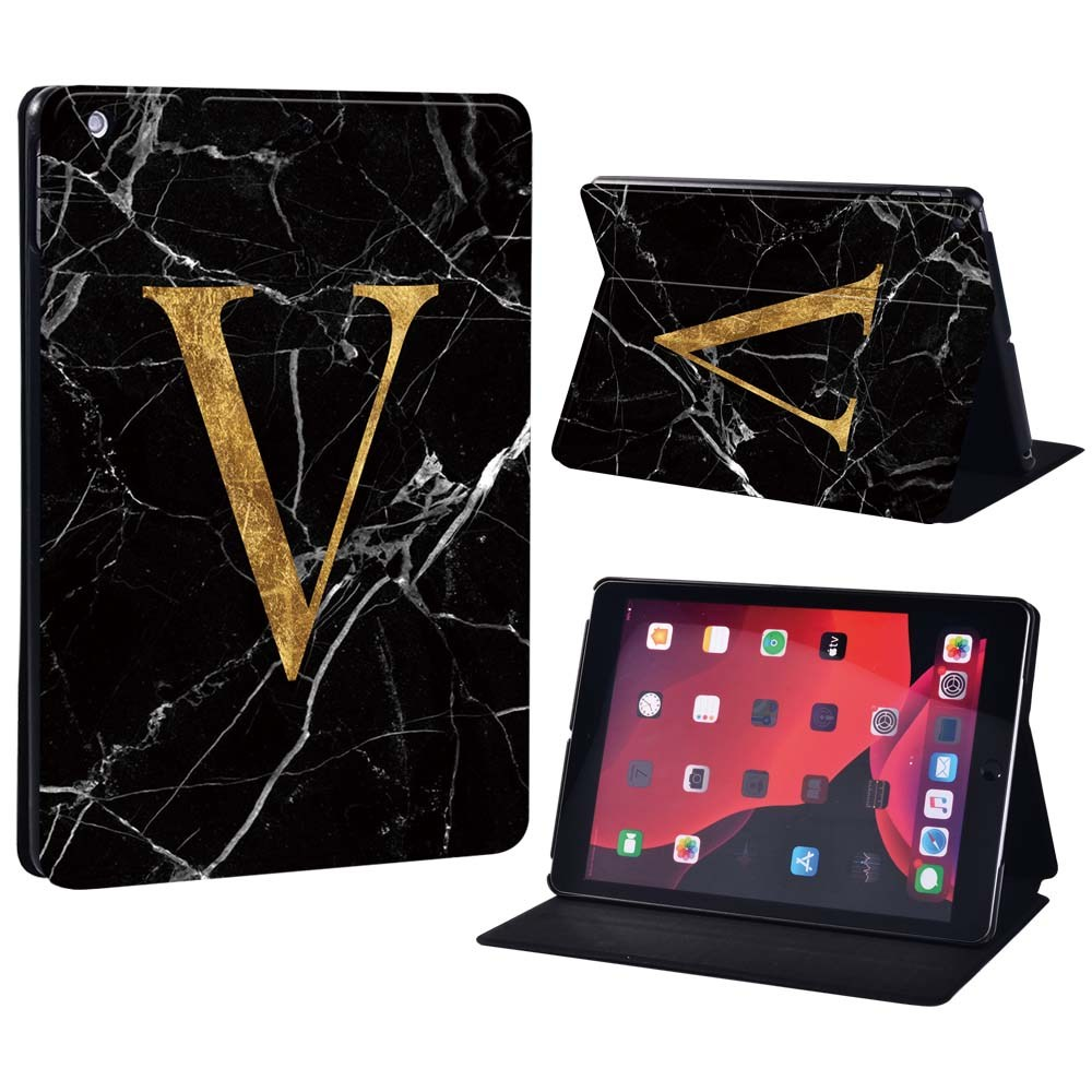 letter V on black Gold For Apple iPad 8 10 2 2020 8th 8 Generation A2428 A2429 Printing initia letters PU