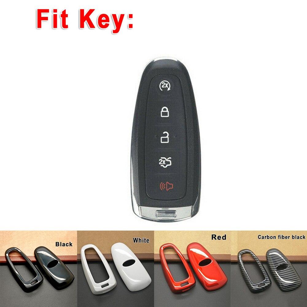 Чехол для автомобильного ключа, декоративная крышка, защита от царапин для Ford Focus Edge Escape, автомобильные аксессуары, красный/белый/черный/углеродное волокно, черный