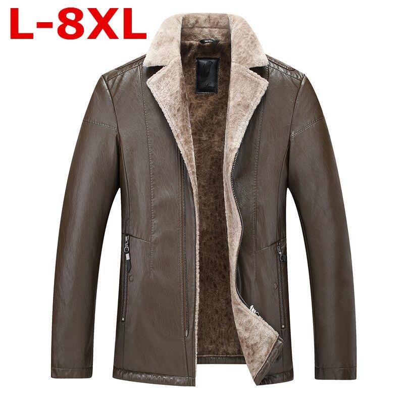 Big Size Winter Men Genuine Leather Coats Pigskin Pilot Jacket Faux Lamb Wool Motorcycle Jackets Manteau Homme Veste Cuir Homme