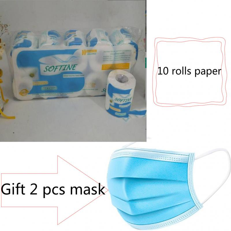 Gift 10 Rolls Smooth Soft Professional Series Premium 3Ply Toilet Paper Home Kitchen Primary Wood Pulp Toilet Tissue Paper Towel