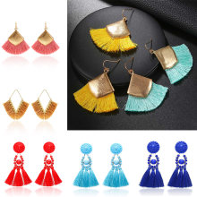 Handmade Bohemian Tassel Earrings 2019 Antique Geometric Vintage Boho Ethnic Accessories Long Drop Earrings For Women Jewelry(China)