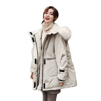 Winter Down Coat With Real Fur Hood Russia Women Puffer Long Female Warm Autumn Feather Jacket For Girls Parka Coats Outerwear
