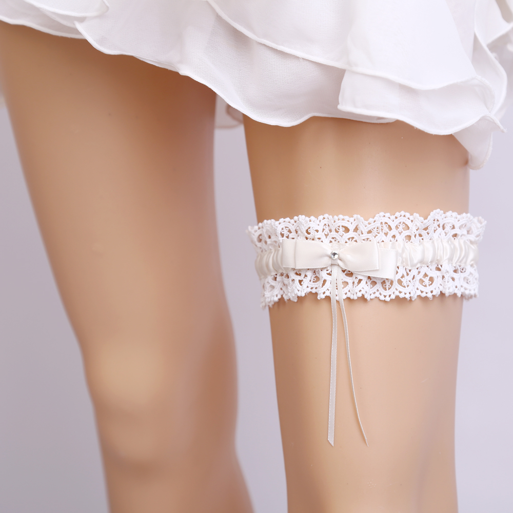 Wedding Garter Bridal Shower Bride Keepsake Lace Floral Rhinestone Bow Sexy Women Ladies Leg Garter Belt Suspender