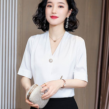 Korean Silk Women Blouses Woman Satin V-neck Blouses Shirts Elegant Women White Shirt Plus Size Blusas Mujer De Moda Ladies Tops