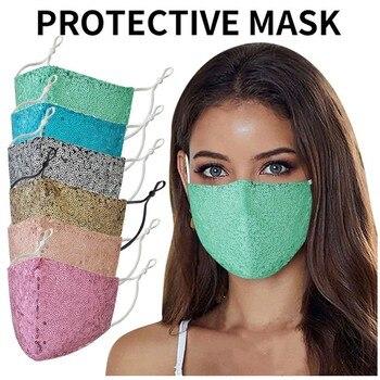Fashion Sequin Cotton Mask Face Masks Keep Warm Anti-haze Masks Shining Party Unisex Breathable Mouth Respirator Washable Mask