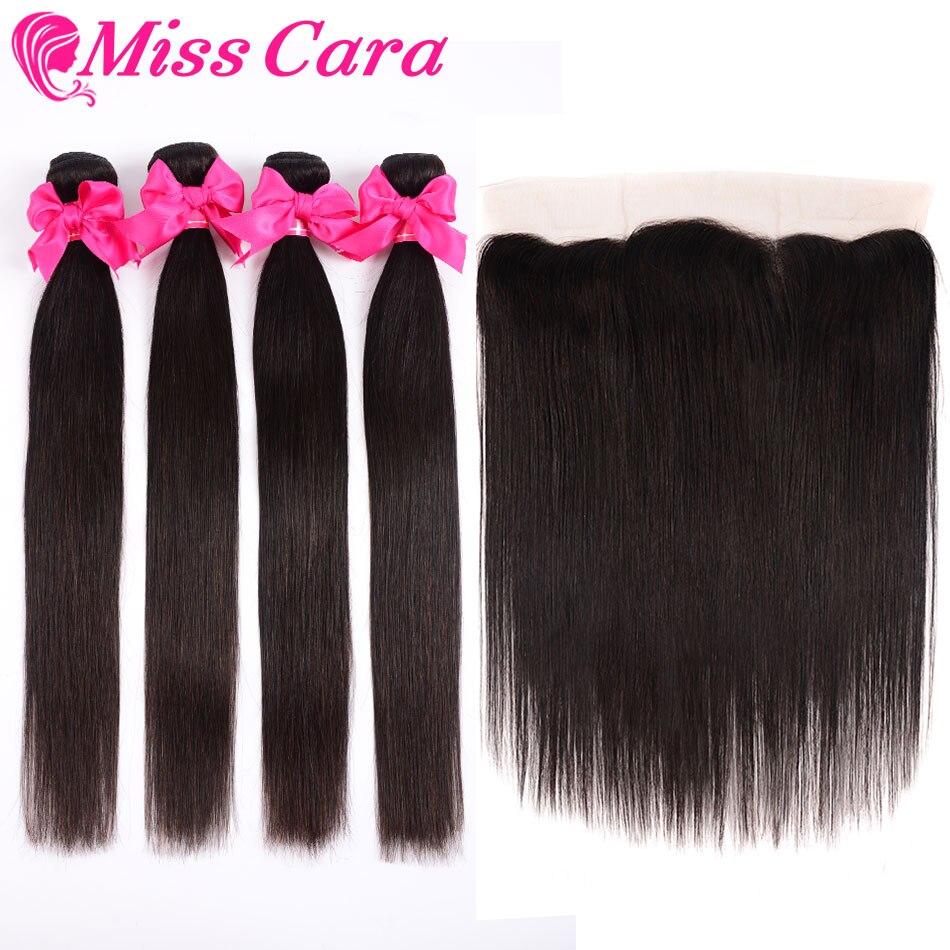 H1e242f4be88246849dec4170f9631077b Peruvian Straight Hair Bundles With Frontal Miss Cara 100% Remy Human Hair 3/4 Bundles With Closure 13*4 Frontal With Bundles