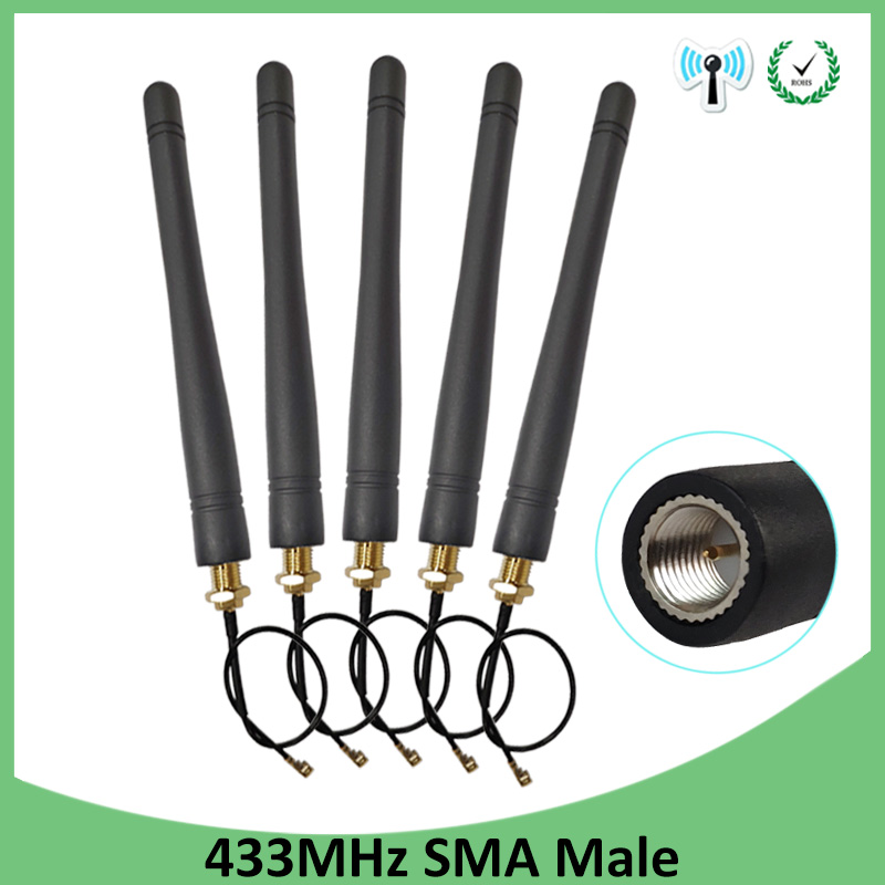 5pcs 433MHz Antenna 3dBi SMA Male Connector Antenne 433 Mhz Directional Antena +21cm RP-SMA To Ufl./ IPX 1.13 Pigtail Cable