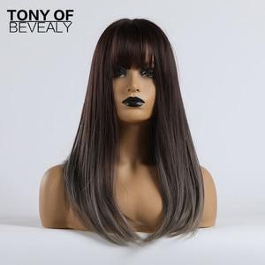 Image 2 - Długie peruki syntetyczne proste z Bangs Ombre ciemnobrązowe do szarych peruk dla kobiet Cosplay peruka z naturalnych włosów włókno termoodporne