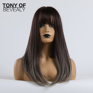 Image 2 - Long Straight Synthetic Wigs With Bangs Ombre Dark Brown to Gray Wigs for Women Cosplay Natural Hair Wig Heat Resistant Fiber