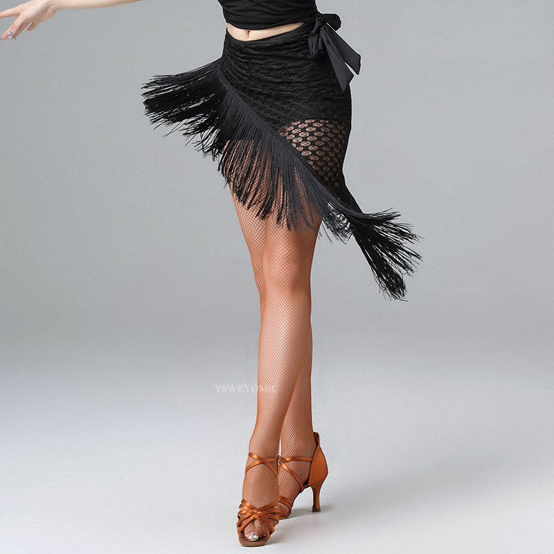 2020 New Lady Fringed Triangle Latin Dress Sexy One Skirt Adult Skirt Latin Dance Dress Costume Women's Black Practice Skirt