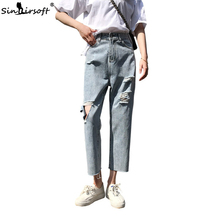 Women High Waist Jeans Pants Woman Casual Loose Hole Ripped Ankle-Length Denim Pant Light Blue Streetwear Trousers Summer New goplus summer style hole ripped jeans women cool denim high waist pants ankle length female skinny blue white casual jeans c4620