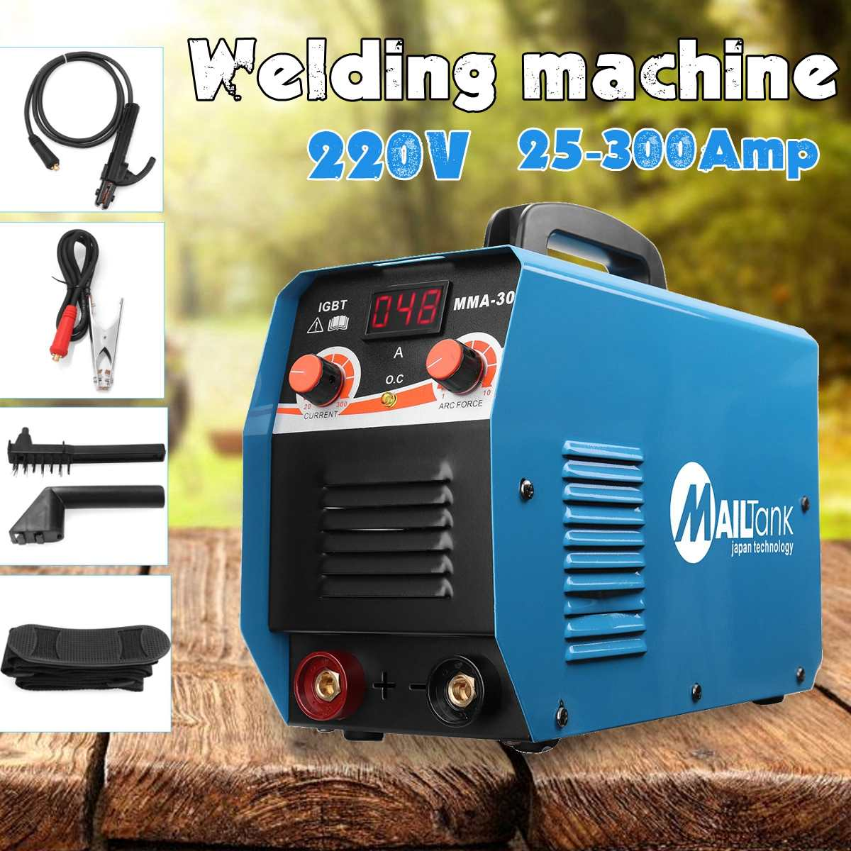 MMA-300G Portable DC Welding Machine 220V 25A-300A Semi-Automatic Inverter LCD Digital Display Soldering Tool