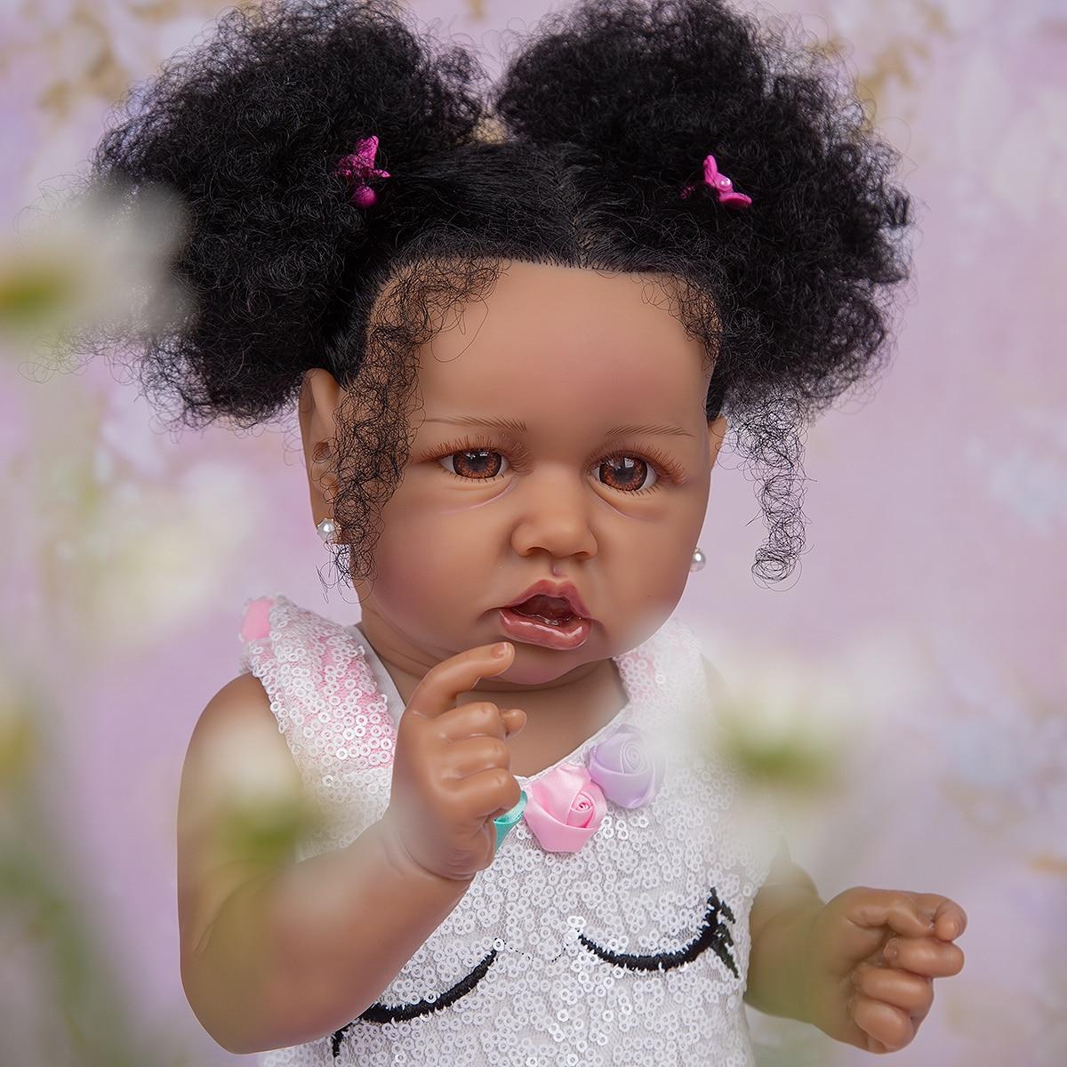 57cm Handmade Fiber Hair Reborn Baby Dolls Black Skin Silicone Full Body Lifelike Toddler Reborn Girl Doll Children's Day Gifts